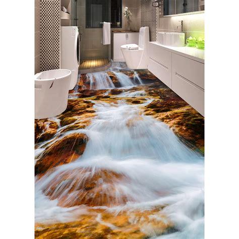 bathtub floor stickers 3d pvc flooring custom wall sticker 3d mountain stream