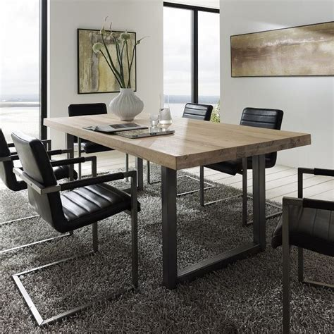 metal dining room table textured up treviso solid oak metal dining table