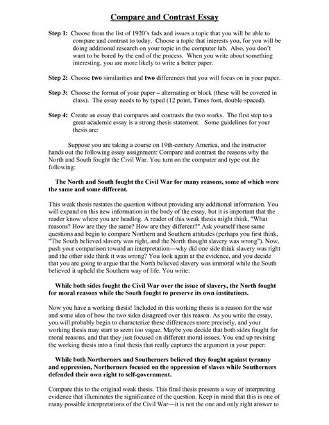 Contrast Compare Essay Exles by Sle Compare And Contrast Essays Resume Cv Cover Letter