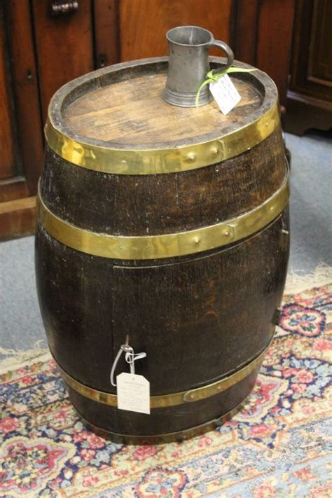 antique oak barrel drinks cabinet and coffee table