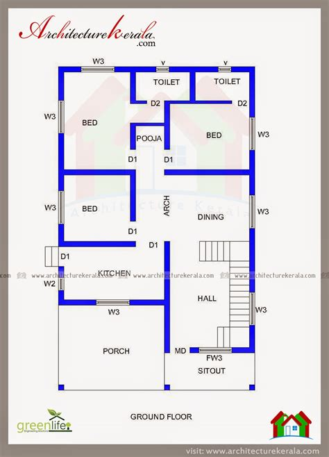 elevation of house plan three bedroom house plan and beautiful elevation architectureerala stupendous 3 kerala