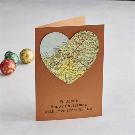 map card personalised copper map 7th anniversary card by