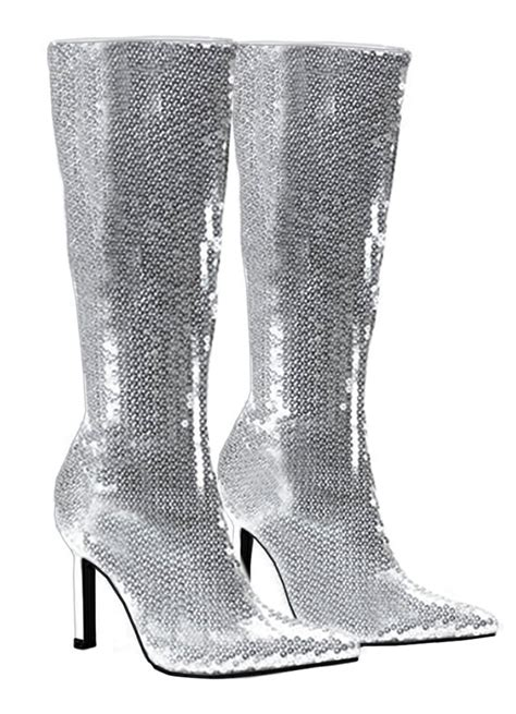 silver boots womens silver sequin boots costume craze
