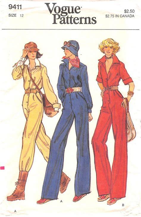 jumpsuit paper pattern vogue 9411 from 70s uncut misses jumpsuit fitted