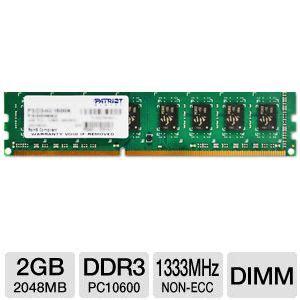 Memory V Ddr3 2gb Pc10600 patriot psd32g13332 pc10600 2gb ddr3 desktop memory upgrade 1333mhz non ecc unbuffered non