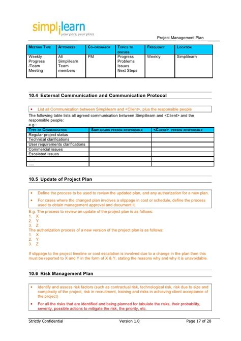 Risk Acceptance Template by Project Management Plan Template