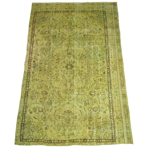 Apple Green Rugs by Vintage Turkish Dyed Apple Green Rug At 1stdibs
