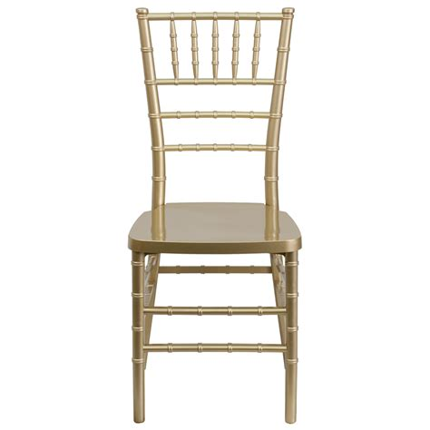 Chivalry Chairs by Hercules Premium Series Gold Resin Stacking Chiavari Chair With Free Cushion