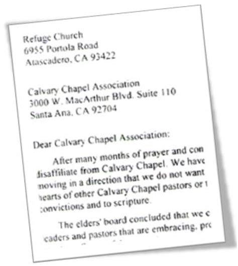 thank you letter to a pastor for preaching california church disaffiliates with calvary chapel