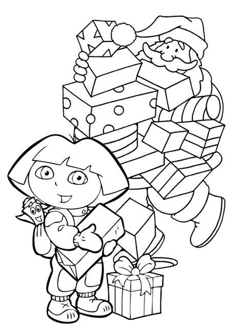 dora thanksgiving coloring page dora and santa christmas coloring page christmas