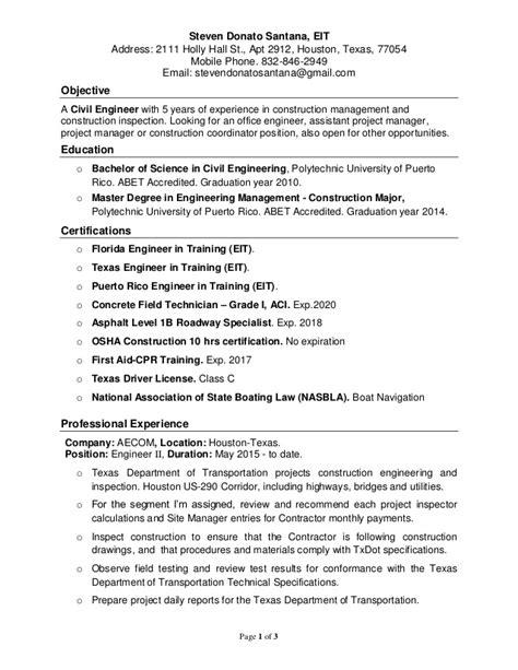 civil engineer in resume 28 images civil engineering