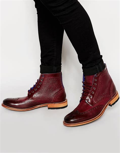 ted baker boots mens ted baker sealls leather brogue boots in for lyst