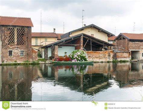 old house boat bernate milan italy stock photo image of house canal