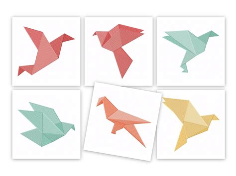 origami birds machine embroidery designs pack embroidery
