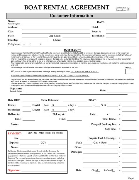 excellent boat rental agreement template with blank form