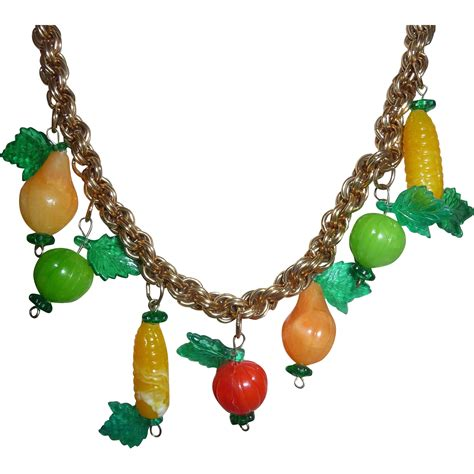 plastic jewelry vintage celluloid plastic jewelry fruits and leaves