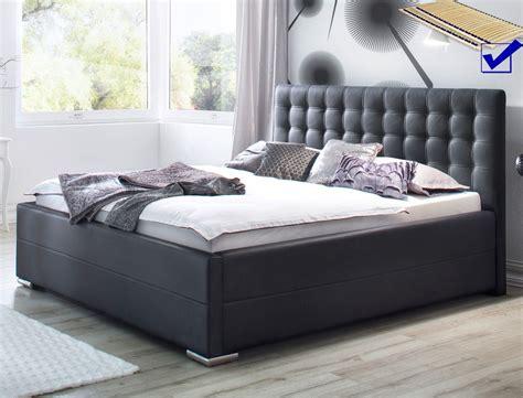 schlafzimmer nachttischle polsterbett toni 180x200 kunstleder schwarz bettkasten