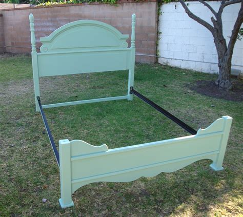 shabby chic provincial bed frame in mint