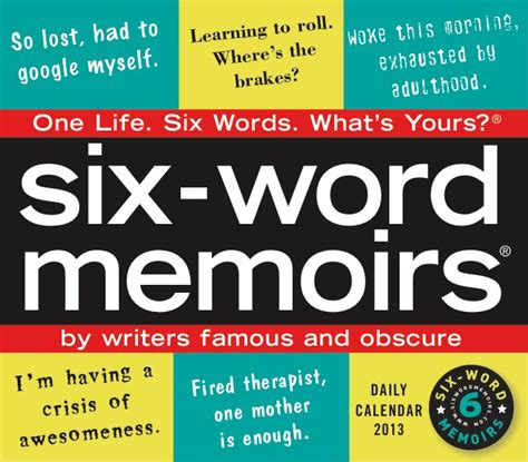 the in my a memoir of and in 1950s manhattan books six word memoir calendar smith magazine