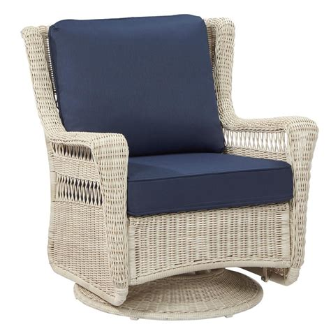White Wicker Lounge Chair by Hton Bay Statesville Padded Sling Patio Lounge Swivel