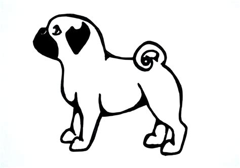 pug outline drawing pug line drawing pictures to pin on pinsdaddy
