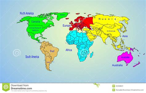illustration of world map with country name world color map continents and country name stock