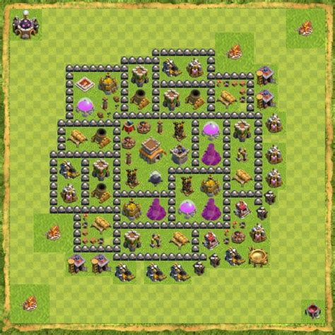 jenis layout coc base th8 hybrid coc terkuat anti bintang 3 terbaik tips