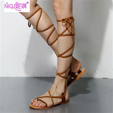 knee high sandals for sale brand rome genuine leather summer knee high boots flat