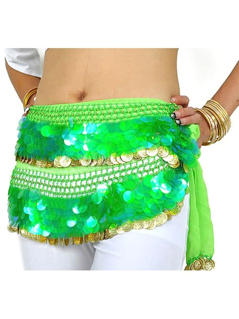 Belly Accessories Selendang Sparkling New hip scarf belly costume green sparkling chiffon accessories milanoo