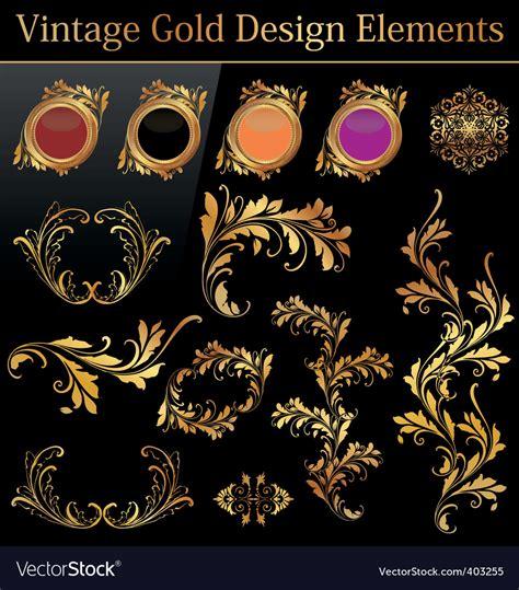 gold vintage design elements vector vintage gold design element royalty free vector image
