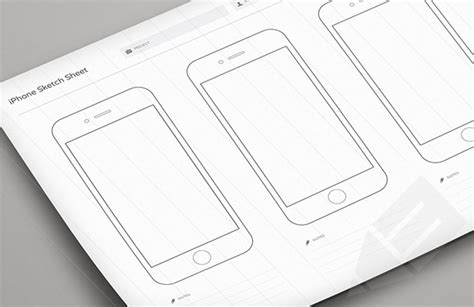 Print Ready Wireframe Sketch Sheets Designbeep Sketch Wireframe Template