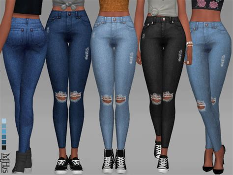 sims 4 jeans high waisted ripped jeans by margeh 75 at tsr 187 sims 4 updates