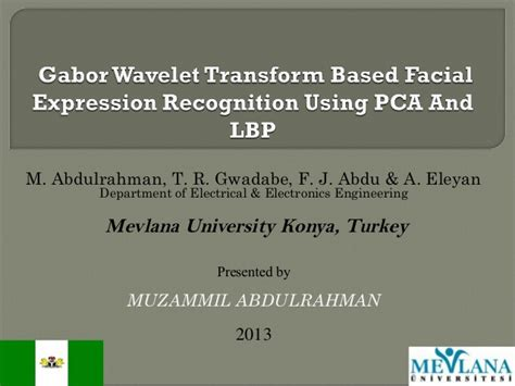 pattern recognition and image analysis ppt muzammil abdulrahman ppt on gabor wavelet transform gwt