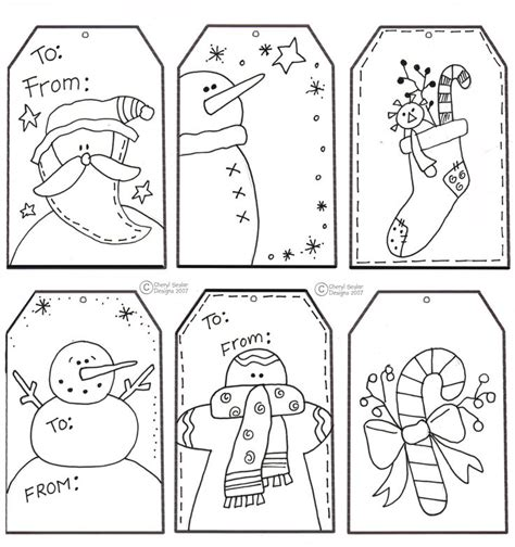 Printable Holiday Gift Tags To Color | free coloring pages of name tag