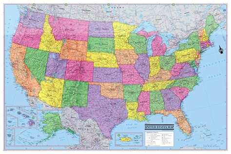 paper road map usa 2016 usa united states wall map poster 36 quot x24 quot multi color