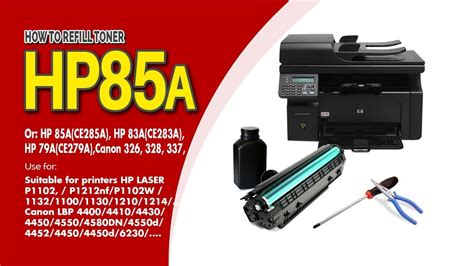 Toner Hp 83a how to refill toner cartridge hp 85a 83a 79a canon 126