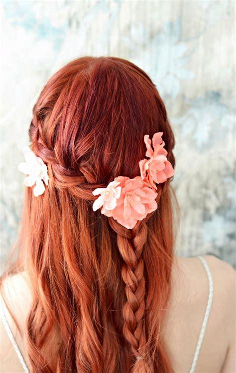 Bridal Flower Hair Clip Set bridal flower salmon pink floral pins flower hair