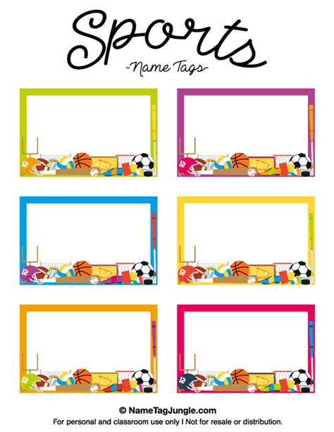 Printable Sports Name Tags Auto Labels Templates