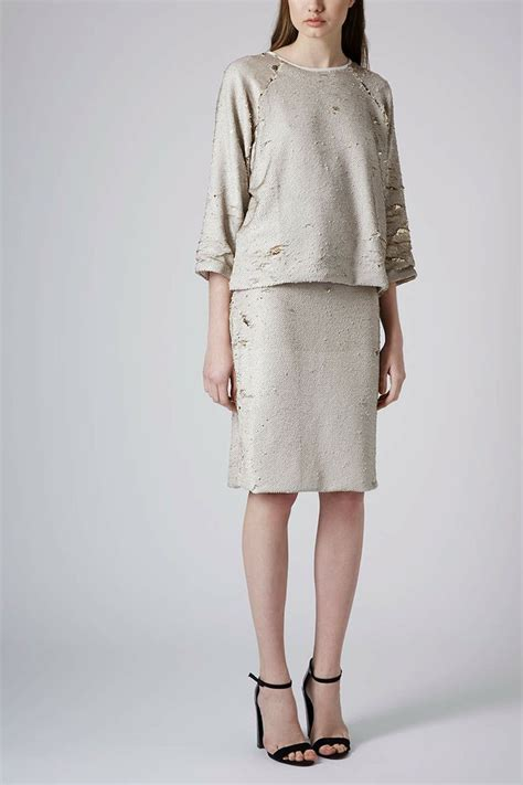 limited edition gold sequin sweatshirt and pencil skirt
