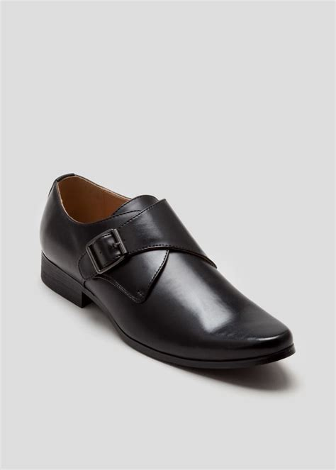 wright formal pu slip on monkstrap shoes