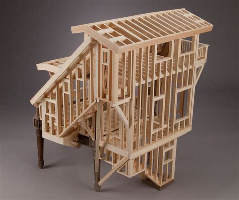 miniature woodworking livable furniture wood frame houses built into chair