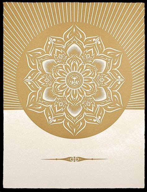 Obey Black Gold White obey lotus lotus crescent prints available