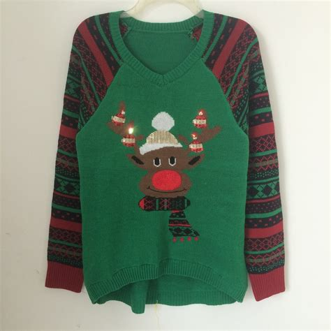 2016 Lights Up Led Pattern Moose Ugly Christmas Sweaters Sweaters For With Lights