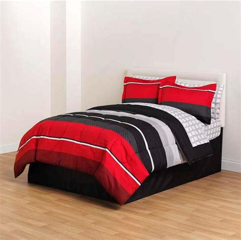red black gray striped 8 piece comforter bedding set twin