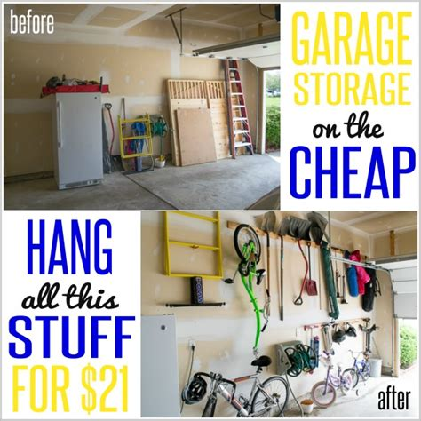 organizing garage on a budget how to hang stuff in your garage on the cheap