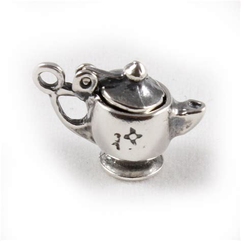 teapot charm 3d sterling silver charms lid lifts tea