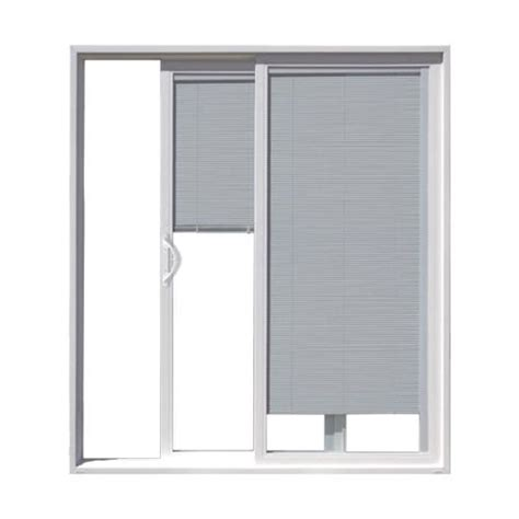 Jeld Wen Sliding Patio Doors With Blinds Jeld Wen Builders Series White Vinyl Left Sliding Patio Door W Blinds In Glass At Menards 174