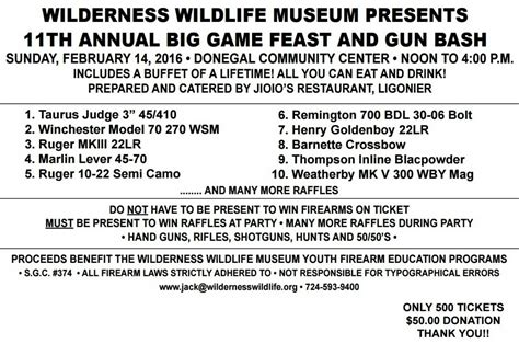 28th Annual Big Feast by Wilderness Wildlife Museum Events