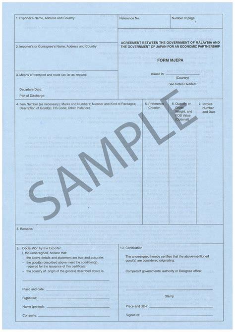 Preferential Certificate Of Origin Australia Certificate Of Origin Template