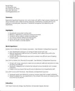 Department Supervisor Sle Resume by Professional Department Supervisor Templates To Showcase Your Talent Myperfectresume